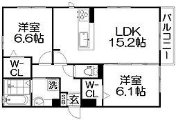 D-room伊加賀西町 3階2LDKの間取り