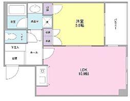 東急東横線 中目黒駅 徒歩10分の賃貸マンション 2階1LDKの間取り