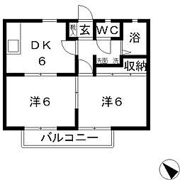 ラクシュリーマンションA[202号室]の間取り