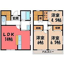 [テラスハウス] 栃木県宇都宮市宝木本町 の賃貸【/】の間取り
