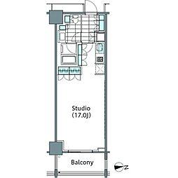 コンフォリア新宿イーストサイドタワー 7階ワンルームの間取り