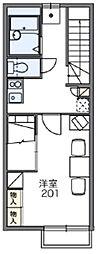 東急田園都市線 南町田グランベリーパーク駅 徒歩23分の賃貸アパート 2階1Kの間取り