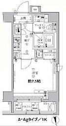 アルテシモ モーレ 8階1Kの間取り