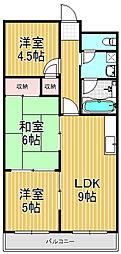 福徳ハイツ[4階]の間取り