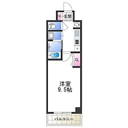 セブンレジデンス日本橋 7階1Kの間取り