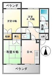フラワーポリス新栄C[2階]の間取り