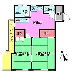 平田第二マンション[2階]の間取り