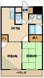 JR横浜線 古淵駅 徒歩8分の賃貸マンション 3階2DKの間取り