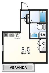 京王線 初台駅 徒歩4分の賃貸アパート 1階ワンルームの間取り