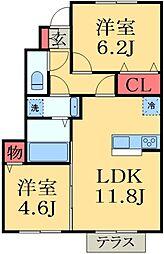千葉県千葉市緑区誉田町2丁目の賃貸アパートの間取り