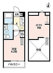 埼玉県さいたま市中央区下落合6丁目の賃貸アパートの間取り