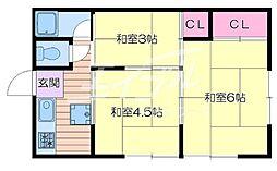大阪府吹田市円山町の賃貸アパートの間取り