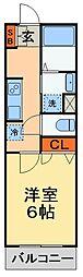 JR成田線 成田駅 徒歩6分の賃貸アパート 2階1Kの間取り