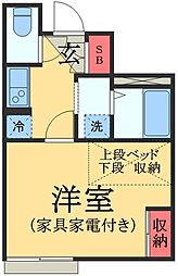 JR総武本線 物井駅 徒歩4分の賃貸アパート 2階1Kの間取り