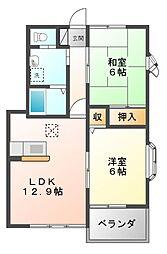 愛知県豊橋市多米中町2丁目の賃貸アパートの間取り