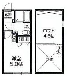 西武新宿線 西武柳沢駅 徒歩10分の賃貸アパート 2階ワンルームの間取り