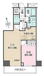 ザ・パークハウス新宿タワー 11階1LDKの間取り