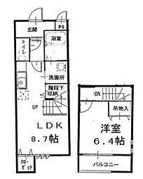 Osaka Metro南港ポートタウン線 平林駅 徒歩10分の賃貸アパート 1階1LDKの間取り