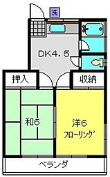 神奈川県横浜市南区永田山王台の賃貸アパートの間取り