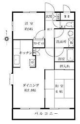 神奈川県川崎市高津区下作延2丁目の賃貸マンションの間取り