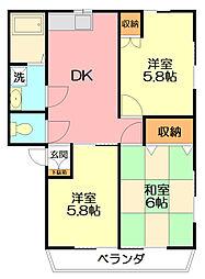 神奈川県平塚市四之宮3丁目の賃貸アパートの間取り