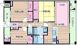 大阪府吹田市桃山台1丁目の賃貸マンションの間取り