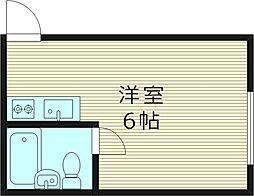 グローリィ岡村II 2階ワンルームの間取り