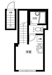 アビタシオン旗の台 2階ワンルームの間取り