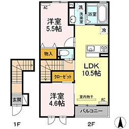 プランドールVII A棟 2階2LDKの間取り