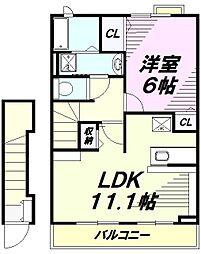 京王高尾線 山田駅 徒歩8分の賃貸アパート 2階1LDKの間取り