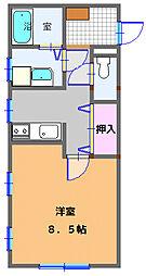 コンパートメントWクエストII 2階1SKの間取り