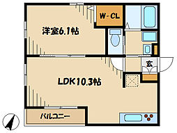 小田急小田原線 小田急相模原駅 徒歩18分の賃貸アパート 1階1LDKの間取り