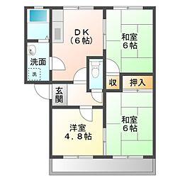 愛知県豊橋市山田二番町の賃貸アパートの間取り