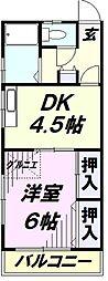 埼玉県所沢市北有楽町の賃貸アパートの間取り