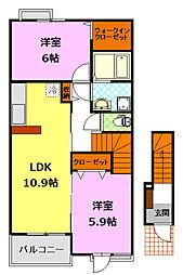 関東鉄道常総線 下妻駅 4.4kmの賃貸アパート 1階2LDKの間取り