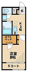 JR川越線 武蔵高萩駅 徒歩14分の賃貸アパート 2階1Kの間取り
