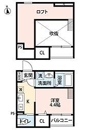 dormire箱崎(ドルミーレハコザキ)[102-0号室]の間取り