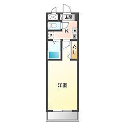 名鉄名古屋本線 矢作橋駅 徒歩6分の賃貸マンション 7階1Kの間取り