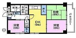 カメリヤマンション[2階]の間取り