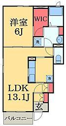 JR外房線 大網駅 徒歩11分の賃貸アパート 1階1LDKの間取り