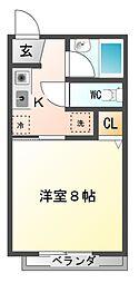 愛知県豊橋市大崎町字平嶋の賃貸アパートの間取り