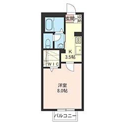 第13須賀ハイツ 2階1Kの間取り
