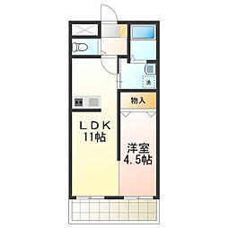 サーク羽倉崎 3階1LDKの間取り