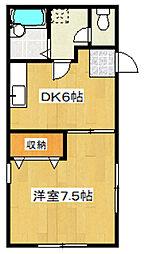 東京都北区田端新町1丁目の賃貸アパートの間取り