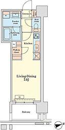 グランドプレシア芝浦 12階ワンルームの間取り