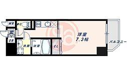 JR大阪環状線 寺田町駅 徒歩6分の賃貸マンション 8階1Kの間取り