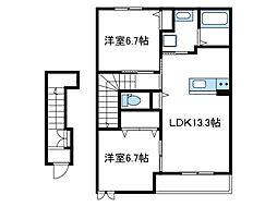 神奈川県大和市上草柳の賃貸アパートの間取り