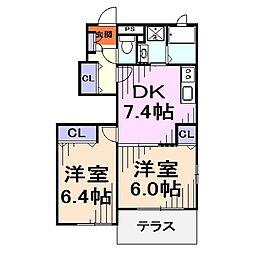 埼玉県川口市差間3丁目の賃貸アパートの間取り