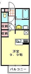 テラス・アンダンテ 2階ワンルームの間取り