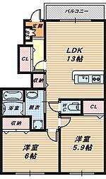 大阪府堺市南区栂の賃貸アパートの間取り